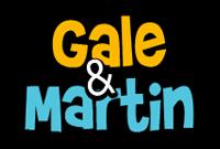 gale & martin logo i gult og blått